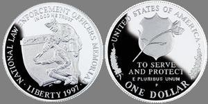 1997 год сша 1 доллар proof мемориал правоохранительных органов 500 итальянских лир в рублях